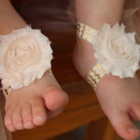 Baby barefoot sandals - peach and gold barefoot sandals, barefoot sandals, baby shoes, infant sandals, flower sandals, toddler sandals