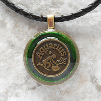 aquarius necklace: green - mens necklace - man jewelry - astrology - boyfriend gift - zodiac - birthday gift - leather cord - unique gift