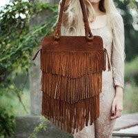 Fringe Brown  Leather Bag // Ready to ship  //