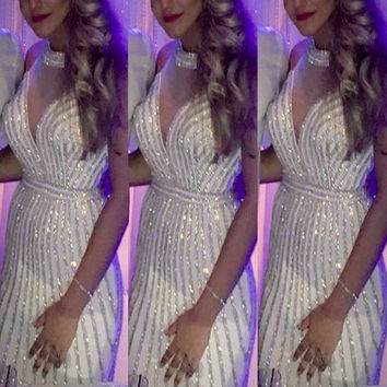 Bling Crystal Silvery Beading Mermaid Prom Dresses Halter Deep V Open Back Backless Sheer Illusion Long Party Evening Gowns