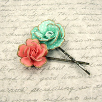 Vintage Style Mint and Coral Floral Bobby Pins - Coral and Mint Flower Wedding Hair Pins - Antique Brass - Bronze Hair Accessories