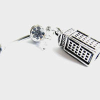 Tardis Belly Button Jewelry, Phone Booth Time Machine Belly Ring Bellybutton Navel Ring