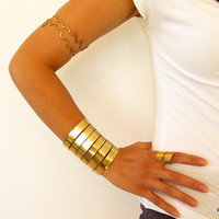 Wide formed cuff, shiny brass wrist cuff, wonder woman armband