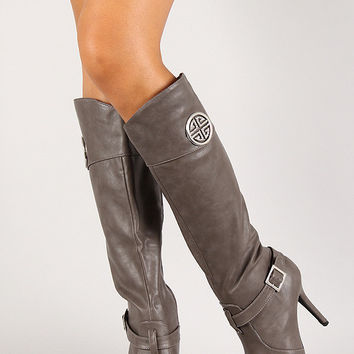 Anne Michelle Rhinestone Emblem Pointy Toe Knee High Boot