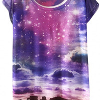 Purple Sky Print Graphic Tee