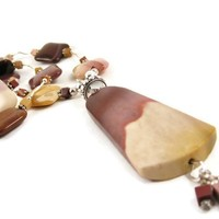 Long Chunky Beaded Gemstone Pendant Necklace Moukite & Sterling Silver Mauve Burgundy and Mustard