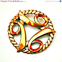 Copper Modernistic Abstract Brooch