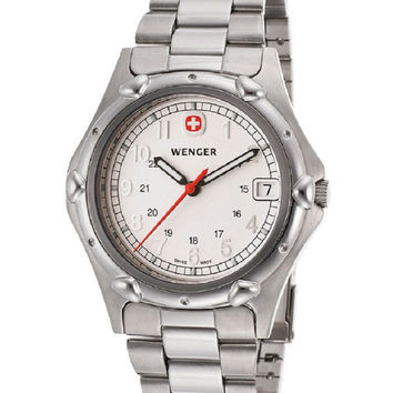 WENGER Men's Standard Issue Analog White Dial Stainless Steel  Watch