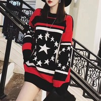 """Givenchy"" Women Fashion Multicolor Five-pointed Star Long Sleeve Knit Sweater Tops"