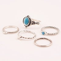 Retro Blue Faux Gem Heart Shaped Butterfly Ring Sets For Women