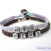 Bracelets for Couples, His and Hers, Pastel and Brown Handmade Hemp Jewelry - Black Friday Cyber Monday SALE