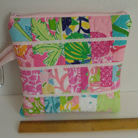 Quilted Waterproof Lilly Pulitzer Purse Tote Wet Dry Cosmetic Bag #6