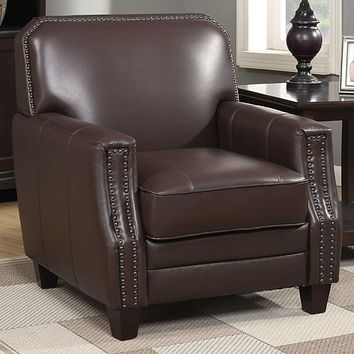 Armchairs and Accent Chairs - Brown Full Grain Leather Club Arm Chair