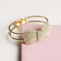 Adjustable Elegant Bling Bow Crystal Rhinestone Bowknot Bracelet Bangle Gift (Color: Silver) = 1958128260