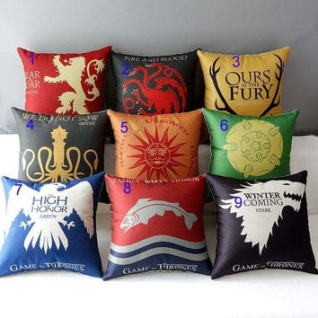 Game of Thrones House Home Decor Cushion Linen cotton Pillowcase = 1930557380
