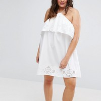 ASOS CURVE Beach Broidery Halter Sundress at asos.com