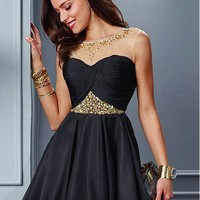 [71.49] Elegant Tulle & Chiffon Bateau Neckline A-line Homecoming Dresses with Beadings & Rhinestones - dressilyme.com