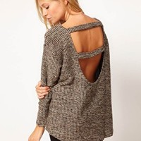 ASOS Top with Open Back in Metallic at asos.com