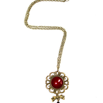 Bronze Romantic Necklace with Red glass cabochon bow and black tear drop bead