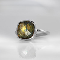 Faceted Labradorite sterling silver cushion square shape stacking bezel set ring