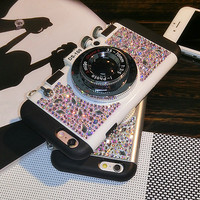 Bling Crystal Camera Cell Phone Case foriPhone 7 7s plus for iphone6 6s plus for iphone 6 6s  with Mobile Phone Neck Straps