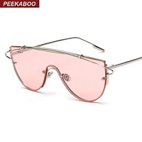 Peekaboo fashion brand one piece lens sunglasses women metal vintage oversized tinted sunglasses mirror male female pink Cool