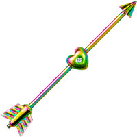 Heart and Arrow Rainbow Anodized Titanium Industrial Project Bar 32mm | Body Candy Body Jewelry