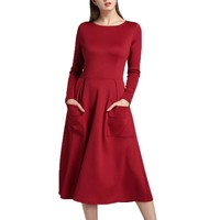 2018 Office Lady Spring Classic Pockets A-Line Dresses Women Solid Long Sleeve Casual Loose Hem Formal Party Dresses Autumn #LH