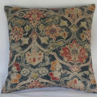 Distressed Denim Blue Floral Pillow Cover