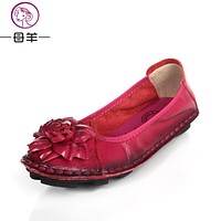 Women Genuine Leather Shoes Hand-sewn Flats Cowhide Flexible Women Loafer