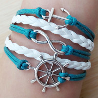 Welcome to my shop,Rudder bracelet,anchor Bracelet,Antique infinity Bracelet, , If you like it, click the collection