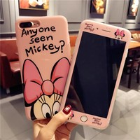 For iphone X 8 plus Cartoon Mickey Minnie phone Case Cover + Tempered Glass Screen Protector Case for iPhone 6 6s Plus 7plus