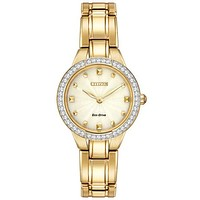 Citizen Ladies Silhouette Crystal Watch - Champagne Dial - Gold-Tone Bracelet