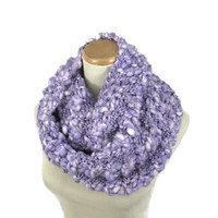 Purple Knit Infinity Scarf, Hand Knit Scarf Gift Idea For Her Fashion Accessory Women Accessory Purple Scarf Knit Snood, Knit Circle Scarf,