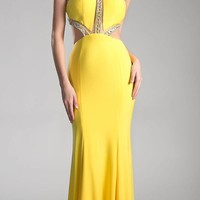 Beaded Cut Out Floor Length Prom Dress Yellow