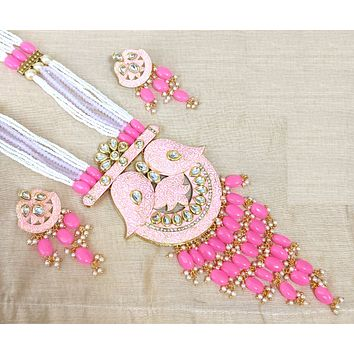 XL size designer matte meenakari Pendant with long bead chain necklace and Earring set