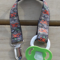 Pacifier Holder, Orange Browning Camouflage Ribbon Pacifier Holder or Clip, Camouflage Pacifier Holder, Binky Clip, Browning Toy Clip