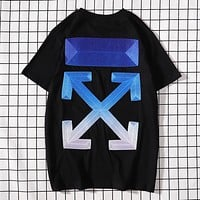Off White Fashion New Gradient Embroidery Cross Arrow Print Women Men Top T-Shirt Black blue