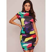 SHEIN Mock-neck Brush Stroke Print Bodycon Dress