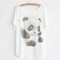 2014 Summer fashion loose women's cotton T-shirt print animals cute panda good quality batwing tops tshirt 49754