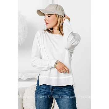 Cyrus Long Sleeve High Low Top   White