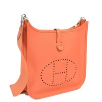 Auth HERMES Evelyne PM Shoulder Bag Orange Leather