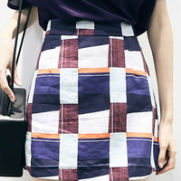 Multicolor Plaid A-line Mini Skirt