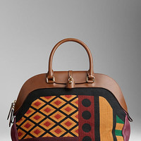 Large Tapestry and Leather Bowling Bag
