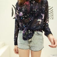 SakuraShop — Sexy Sheer Galaxy Chiffon Front Shirt