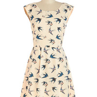 ModCloth Bird Mid-length Sleeveless A-line Swoop In and See Me Dress