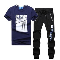 ADIDAS 2019 new men's outdoor leisure sports suit two-piece Blue