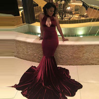 African burgundy Velvet Black Girl Wine Red Prom dress 2017 ballkleider Keyhole Mermaid Long Formal Evening Gown vestido longo