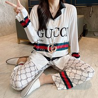 GG women's casual long-sleeved cardigan home service suit two-piece suit
