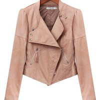Doublju Womens Zip Front Faux Leather Rider Jackets Pink X-Large
